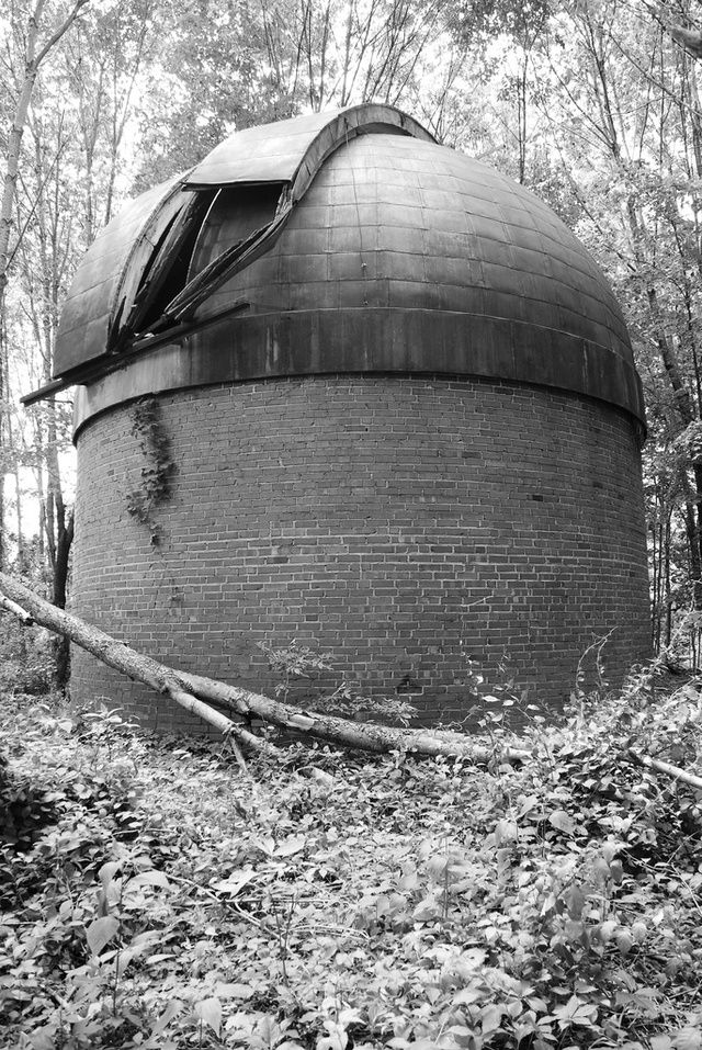 The Loneliness of the Long-Abandoned Space Observatory   The small Knightridge Space Observatory with a four-ton telescope, built in 1936 and 1937, Bloomington, Indiana.