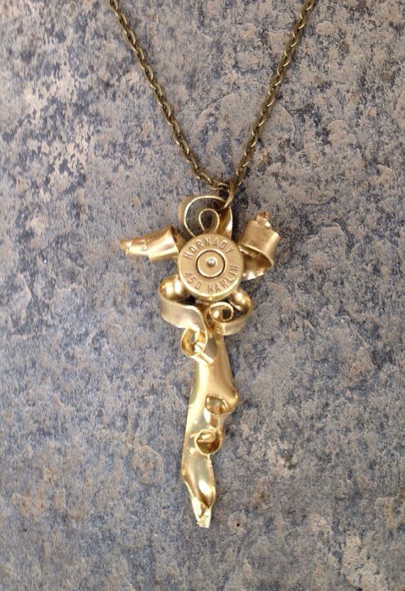 Recycled bullet Casing Necklace Pendant by Flower7 on Etsy, $75.00