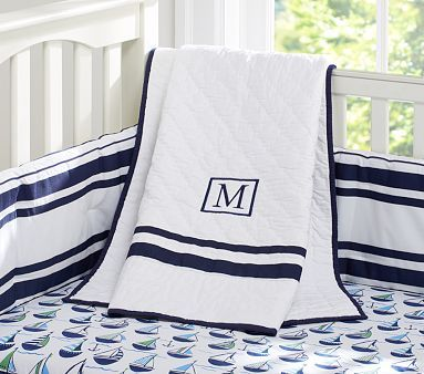 Preppy Boats & Harper Nursery Bedding #PotteryBarnKids for the sailing family, adore the monogram.