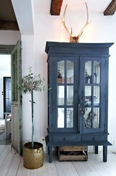navy painted cupboard with glass doors, like yours. I think this would definitely work