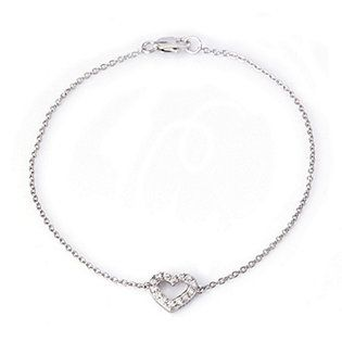 Diamonique 0.1ct tw Heart 19cm Bracelet Sterling Silver