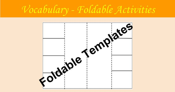 Vocabulary - Foldable Activities Foldable Templates