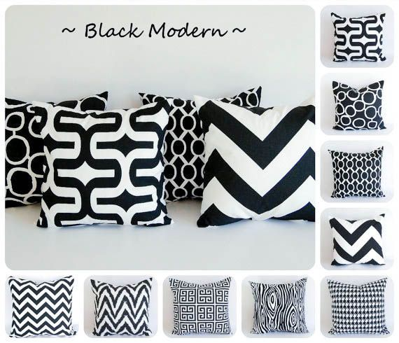 """Black pillow cover 20"""" x 20"""" One cushion cover black and white throw pillow. $18.00, via Etsy. - getting these!"""