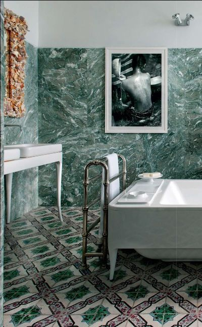 16 green marble tiles on the walls and mosaic tiles on the floor for rh pinterest com