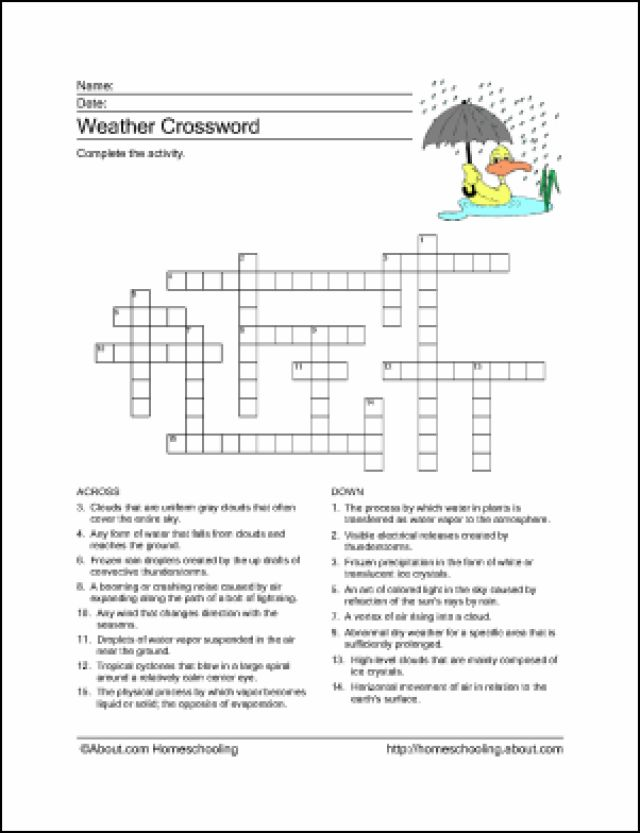 10 worksheets to teach your child basic weather terms crossword children and crossword puzzles. Black Bedroom Furniture Sets. Home Design Ideas