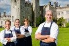 """Cormac Rowe joining the team at """"Kitchen in the castle"""" cookery school at Howth CastlePictured L - R Cormac Rowe, Mary Drum, Susan Bell & Sarah Hughes: Angela Halpin"""