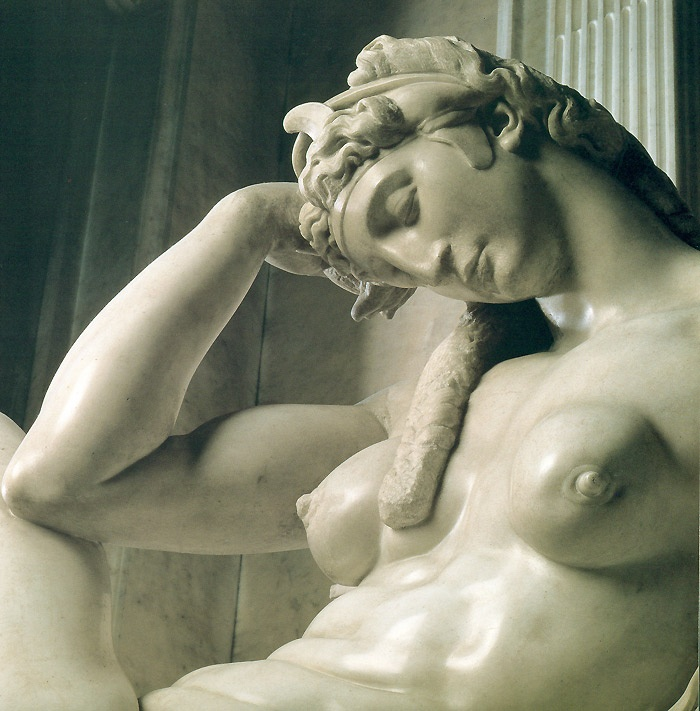 Michelangelo Buonarroti - Sculptor Pintor, Escultor e Arquiteto Italiano (Alta Renascença) 1475-1564 Tomb of Giuliano de' Medici, other detail of Night, 1524-1534 (Sagrestia Nuova, San Lorenzo, Florence, Italy)