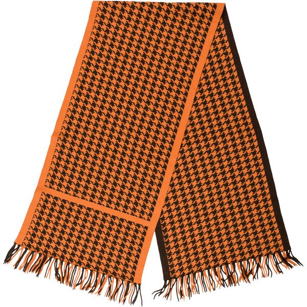 Pre-owned Herm?s Cashmere Houndstooth Scarf ($345) ❤ liked on Polyvore featuring accessories, scarves, brown, cashmere scarves, cashmere shawl, fringe scarves, brown scarves and houndstooth scarves