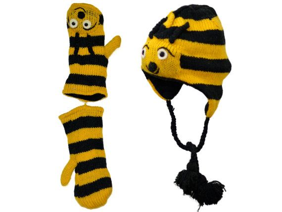 Yellow bee animal knit hat with mittens set  by HatsMittensEtc
