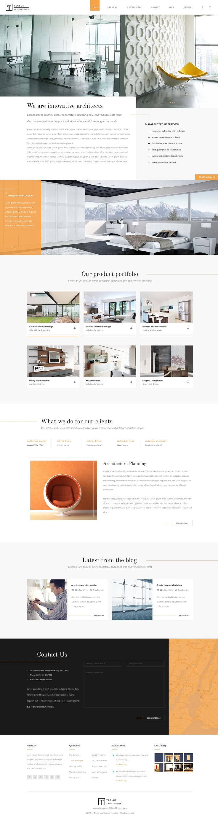 Teclus PSD template is made for architecture and interior design companies. It has purpose oriented design, responsive layout and special features like 3 different landing pages, blog layouts, galleries, services and pricing tables. #website #Photoshop #Template