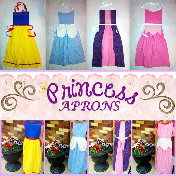 4 in 1 Princess Apron Patterns  INSTANT DOWNLOAD by TimeSavors