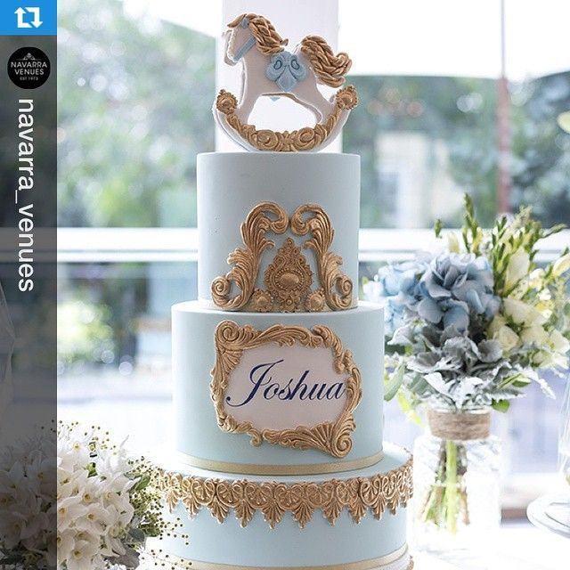 What a great picture taken by @navarra_venues. Close up of our rocking horse themed cake on Saturday for Joshua's christening. Repost with @repostapp. ・・・ We love Joshua's christening cake! So regal and defined for such an occasion ~ Venue: The Deck Room, Oatlands House #Christenings #EventStyling #OatlandsHouse #NavarraVenues #Cakespiration #Cakes #ChristeningCakes @oatlandshouse_navarravenues