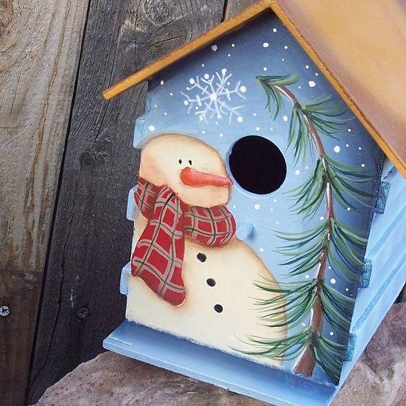 handpainted birdhouses | Hand Painted Birdhouse Primitive Snowman Pine by ThePrairieCottage, $ ...