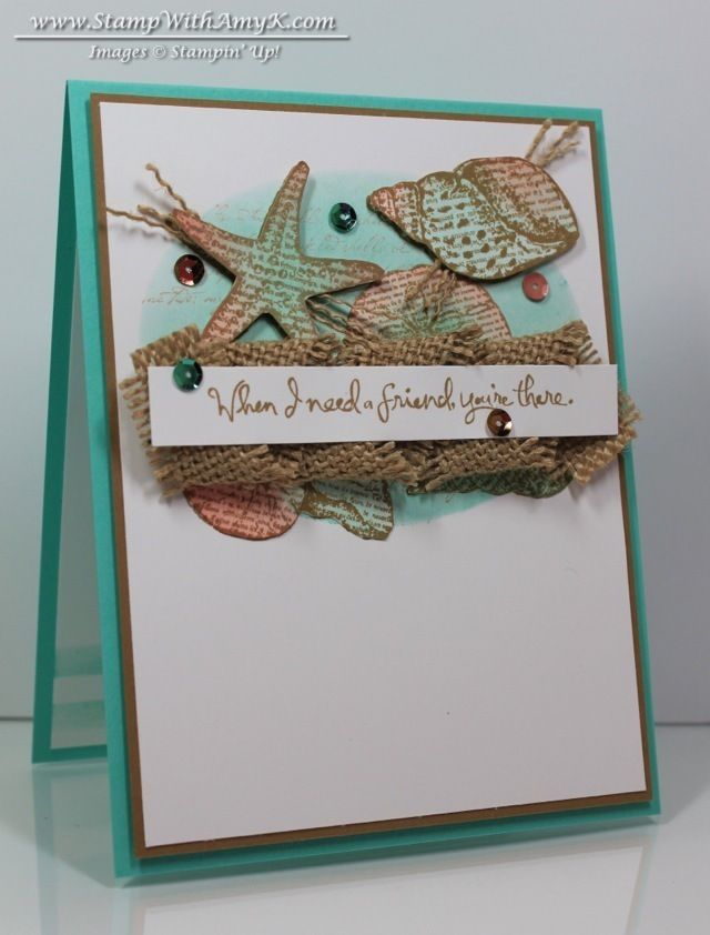 Pretty coloring on the shells!  I could recreate this with my new seashell stamps.  I like the coloring behind.