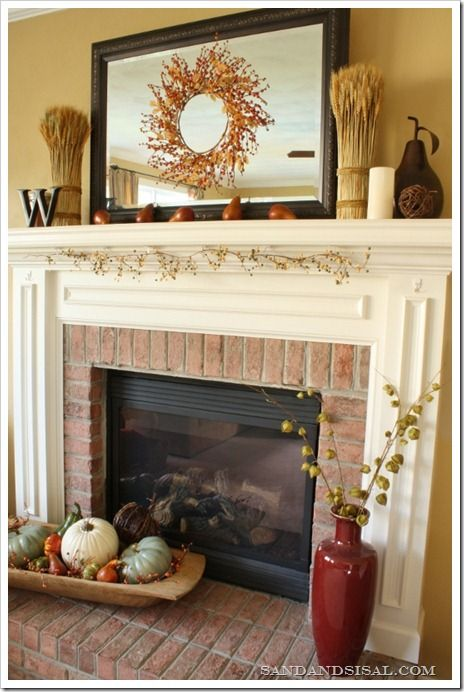 fall mantel pumpkins fireplaces and gourds