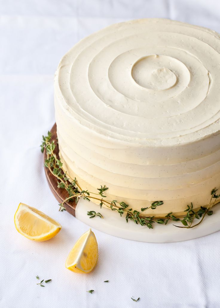 Lemon thyme cake with lemon curd buttercream and thyme syrup.