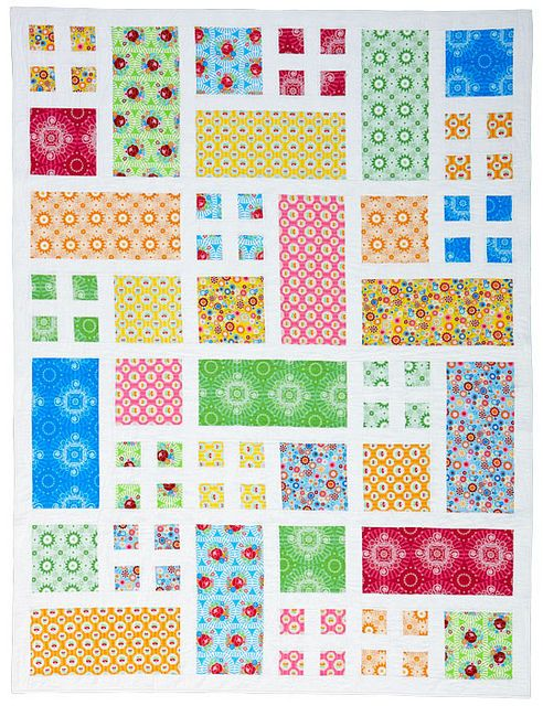 Taking Turns quilt by Monica. Love it, especially the other versions (smaller, each section the same fabric, Elsa's pinwheel-ish version)
