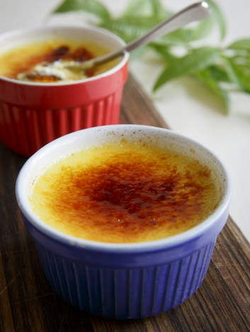 Lemon verbena creme brulee. The herb has an amazing perfume that infuses the cream in this recipe. You can use it to make exotic ice-cream as well. If you can't find lemon verbena, substitute for cinnamon quills instead. Fear not! You don't need a blowtorch.