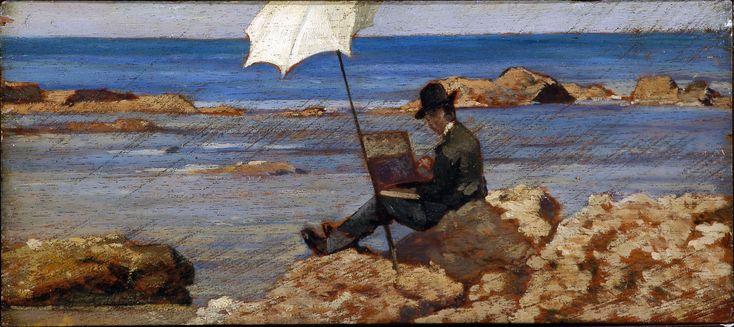 """Giovanni Fattori """"Silvestro Lega, nella pittura di Riva al Mare"""" 1867 Olio su tela"""