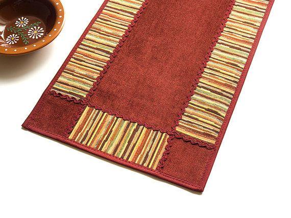 Samt Gobelin Tabelle Topper Motley Ernte & Burgund gestreift Applique Textil Dekor Tabelle Herzstück Teppich-Läufer primitiven ethnischen Tischsets