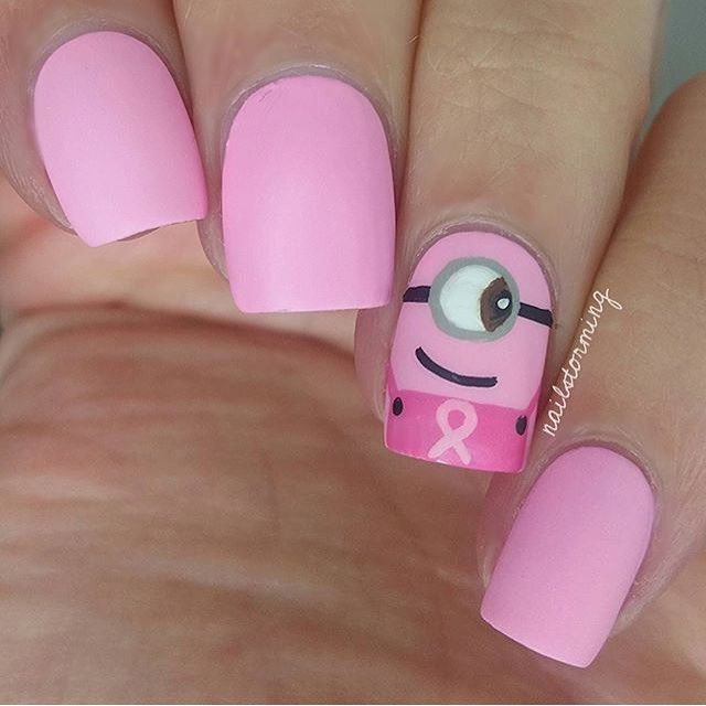 ✨ PINK MINIONS for Breast Cancer Awareness Month ✨Nails by @nailstorming ✨Polish: @flossgloss 'Perf'