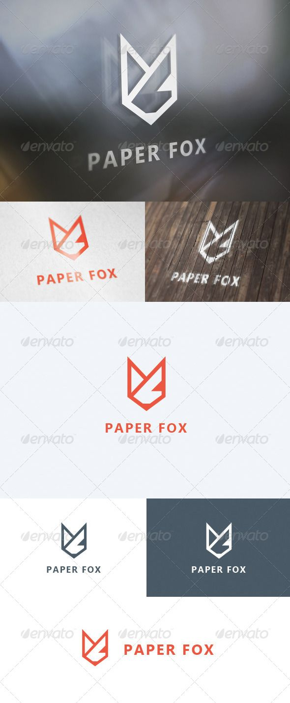 Paper Fox Logo  #fox #logo #logotype • Available here → http://graphicriver.net/item/paper-fox-logo/5624620?s_rank=80&ref=pxcr
