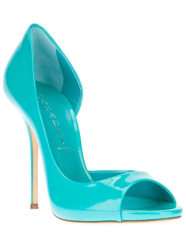 Casadei Turquoise Open Toe Pumps #Shoes #Heels