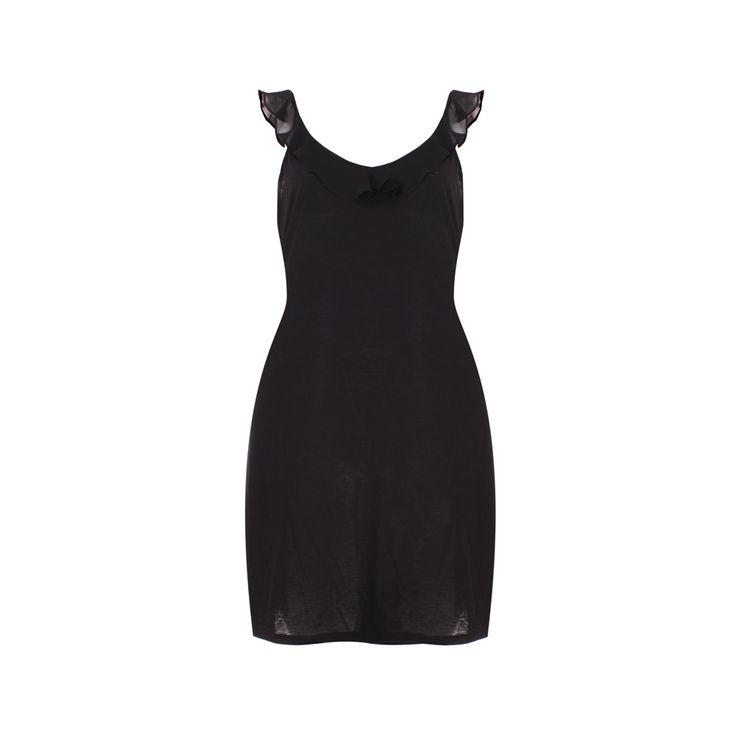 Camisa de Dormir Algodón Negra, María Solita, $25.000. Camisa de algodón negra con vuelos de gasa, su simpleza y comodidad la hacen ideal para usar en el vera