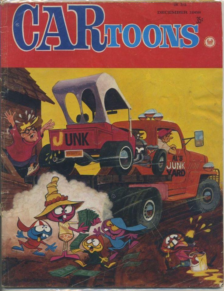 car toons magazine vtg dec 1968 comic hot rod drag race bill hughes cover