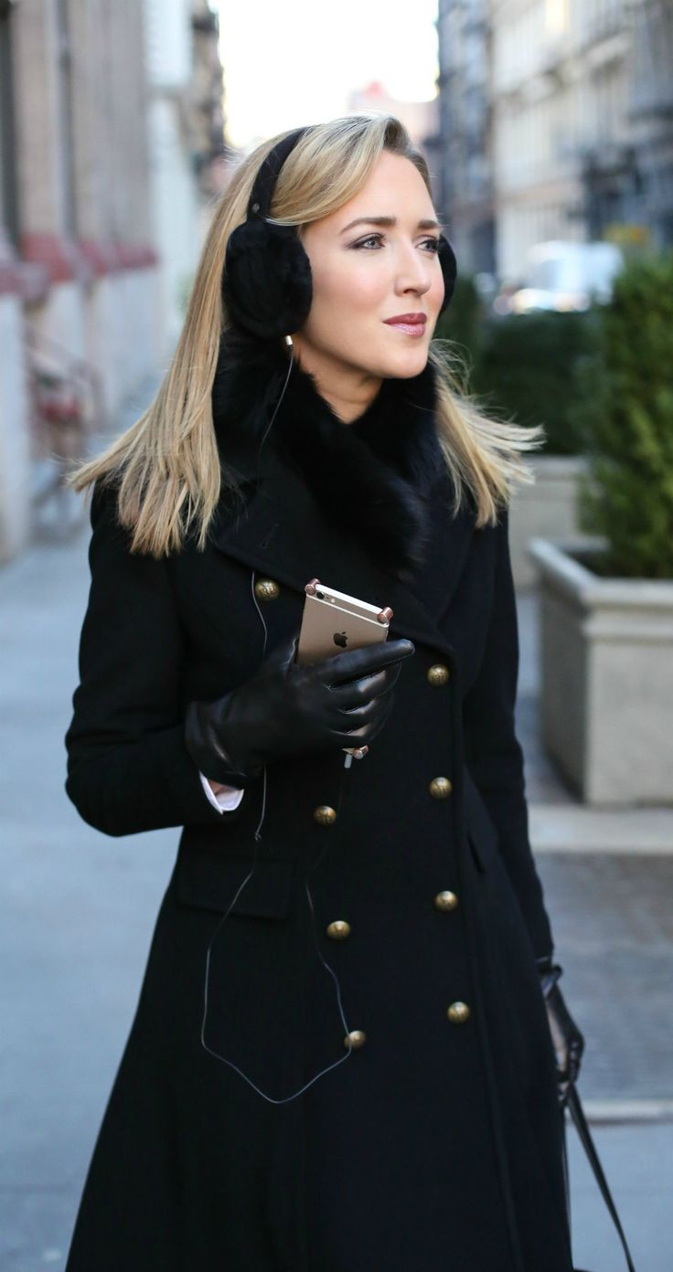 Working Girl Winter Commute Essentials {perfect professional classic black coat with gold double breasted military style buttons, black fur earmuffs with built-in headphones, the best leather tech gloves for using with your phone, super warm fur stole scarf and the best weather-proof booties!}