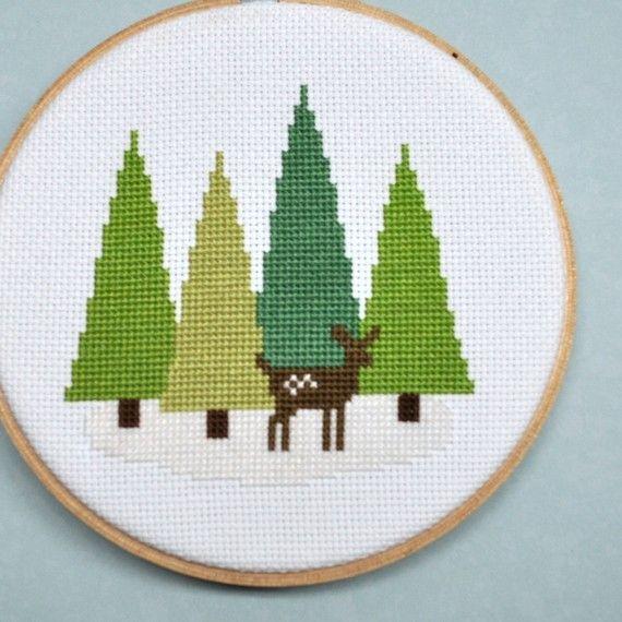 Cross Stitch Pattern - Deer in the Forest Cross Stitch Pattern - Woodland Winter…