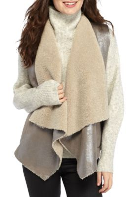 French Connection Women's Arleen Shearling Vest - Silver Mink - 12