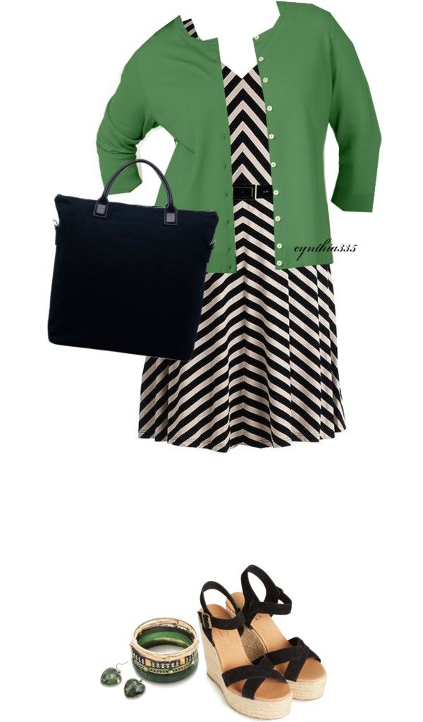 """Chevron Striped Dress~For Beautiful Curves"" by cynthia335 on Polyvore"