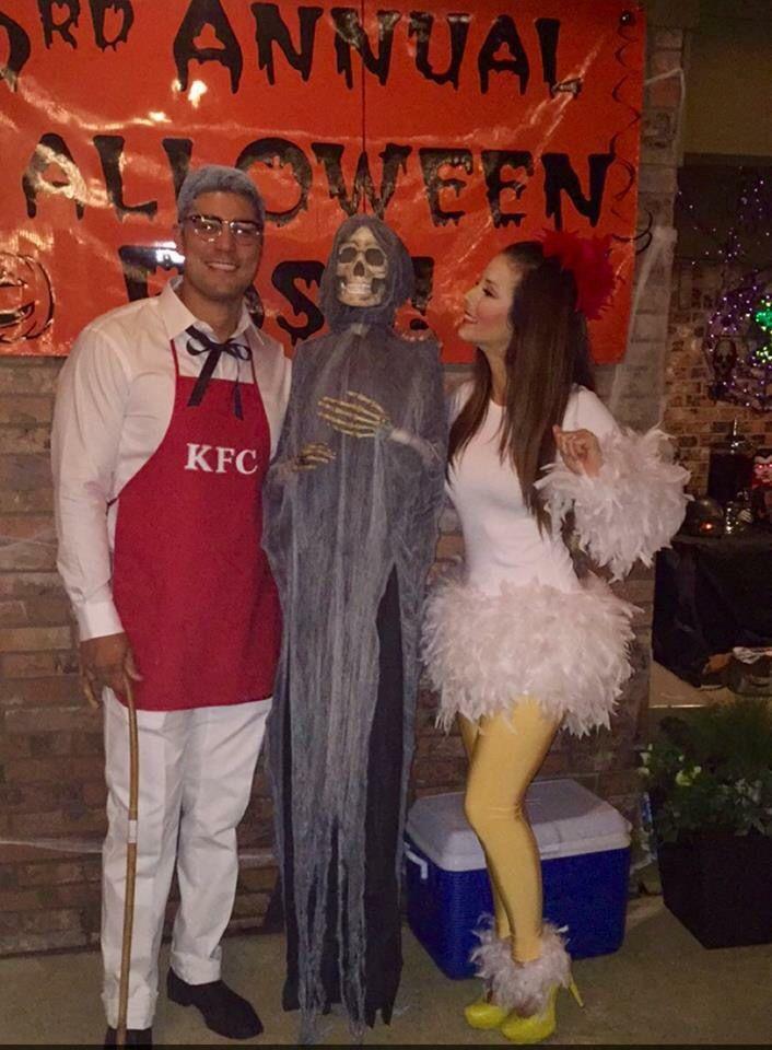 Halloween costume. Couples costume. DIY costume. Chicken costume. Colonel sanders.