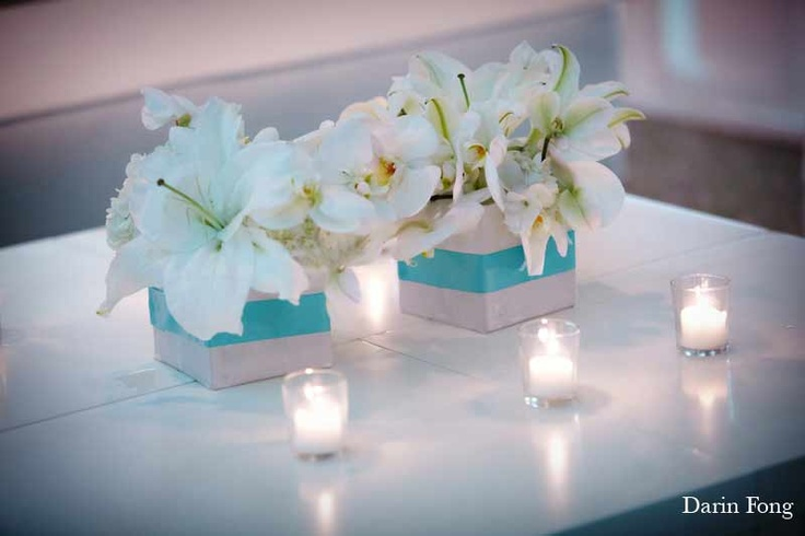 Orchids with Tiffany Blue ribbon, This is very elegant!