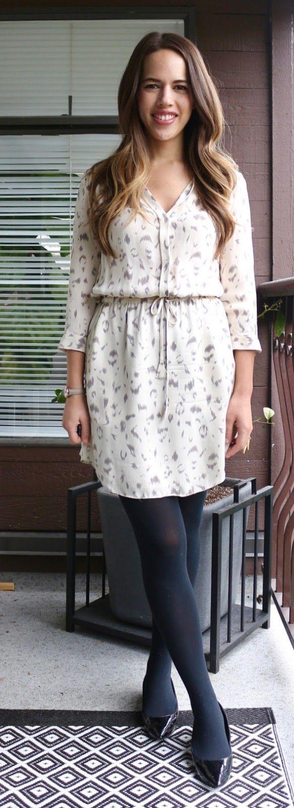 """Jules in Flats - Snow Leopard Silk Shirt Dress Spring Outfit (Artizia Babaton """"Bennett"""" Dress)"""