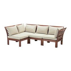 IKEA - ÄPPLARÖ / HÅLLÖ, 4-seat sectional, outdoor, brown stained/beige, , By combining different seating sections you can create a sofa in a shape and size that perfectly suits your outdoor space.The cushion has a longer life because it can be turned over and used on both sides.The cover is easy to keep clean because it is removable and machine washable.You can make your sofa even more comfortable and add a personal touch by complementing with loose cushions in different sizes and c...