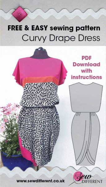 Free Curvy Drape Dress Pattern and Instructions. UK size 12 / US size 8 from Sew Different