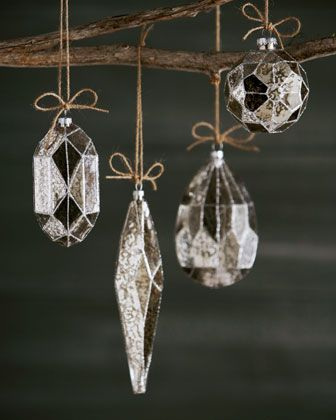 Eight Silvered Glass Christmas Ornaments - Horchow