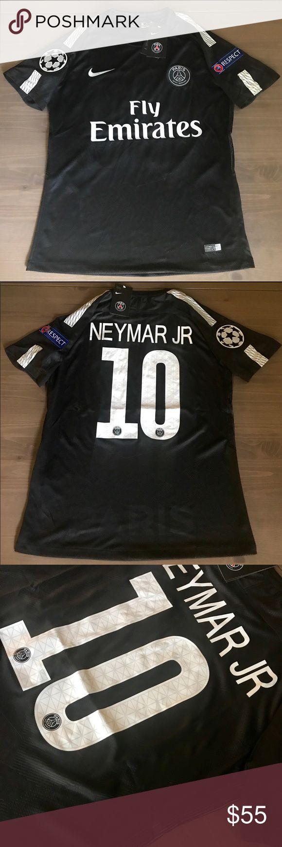 PSG Neymar Jr. #10 soccer jersey champions league PSG away black Neymar Jr. #10 soccer jersey champions league 17/18 Nike Shirts Tees - Short Sleeve