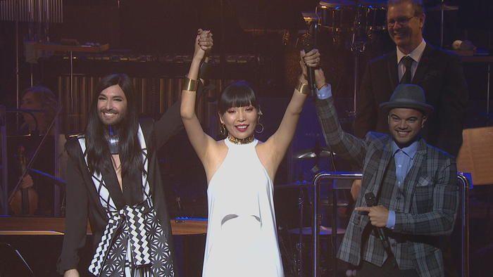 Dami Im announced as Australian Artist to Represent Australia @Eurovision . Conchita & Guy Sebastian salute the People's Champion