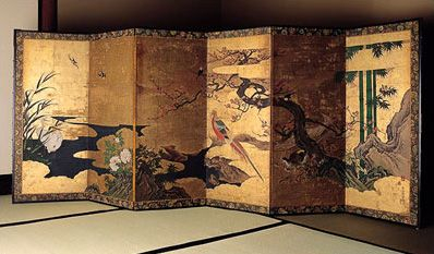 Japanese Byobu screen: Antiques Screens, Ghosts Japan, Japan Screens, Japan Art, Japan Byobu, Golden Cloud, Interiors Design, Japan Folding Screens, Castles Rocks