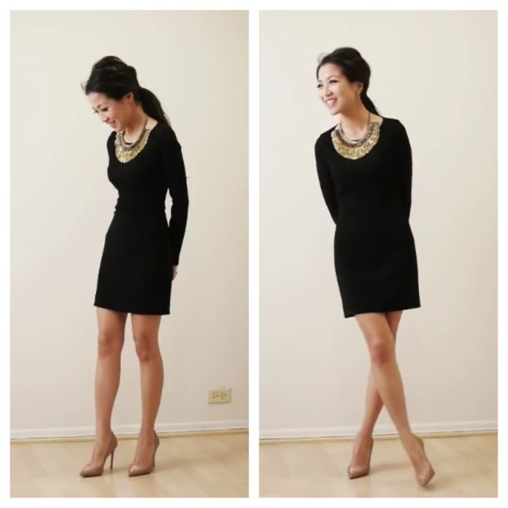 Simple Black Dress And Statement Necklace Evening Outfit