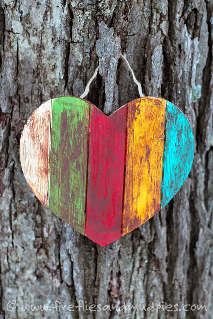 This Antiqued Wooden Heart craft is simple, beautiful, and fun for kids.