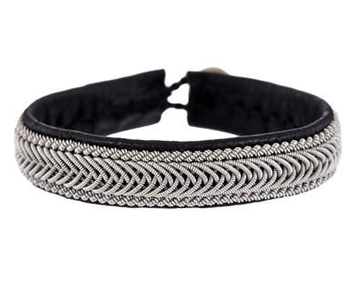 Maria Rudman - Medium Black Leather and Woven Pewter Bracelet in Gift Guides Wrist Watch: Bracelet Picks at TWISTonline