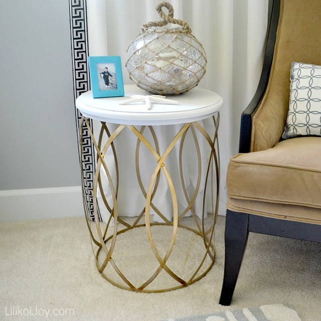 Gold & White Side Table Makeover...made from wire recycle bin possibly?