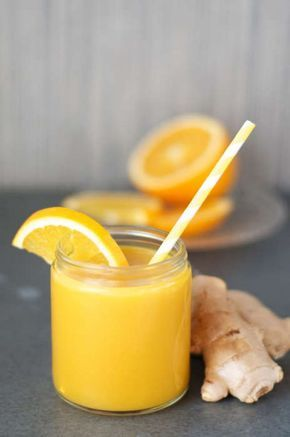 En god smoothie med ingefära som förstärker ditt immunförsvar. 144 kcal