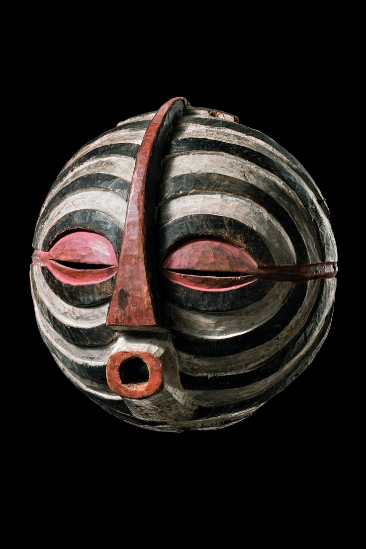 """Africa   Anthropomorphic face mask """"kifwebe"""" from the Luba people of DR Congo   Wood, paint   ca. mid 1900s."""