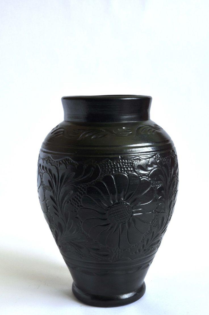 Buy now this engraved black ceramic vase - Romanian authentic handmade folk art
