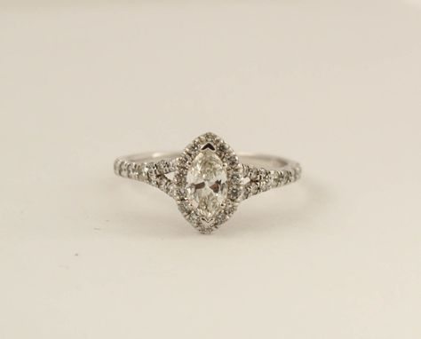 0.93 Ctw. Marquise Diamond Split Shank Engagement Ring in 14K White Gold